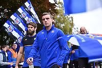 George Ford and the rest of the Bath Rugby team walk through a tunnel of supporters on their way to the changing rooms. Aviva Premiership match, between Bath Rugby and Exeter Chiefs on October 17, 2015 at the Recreation Ground in Bath, England. Photo by: Patrick Khachfe / Onside Images