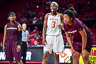 College Park, MD - NOV 16, 2016: Maryland Terrapins guard Kaila Charles (3) sticks her tongue out joking during a free throw attempt during game between Maryland and Maryland Eastern Shore Lady Hawks at XFINITY Center in College Park, MD. The Terps defeated the Lady Hawks 106-61. (Photo by Phil Peters/Media Images International)