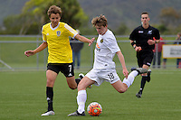 Team Wellington&rsquo;s Callum McCowatt in action during the National Youth League - Phoenix Youth v Team Wellington Youth at Petone Memorial Park, Lower Hutt, New Zealand on Saturday 29 October 2016.<br /> Photo by Masanori Udagawa. <br /> www.photowellington.photoshelter.com.