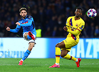 25th February 2020; Stadio San Paolo, Naples, Campania, Italy; UEFA Champions League Football, Napoli versus Barcelona; Dries Mertens of Napoli shoots and scores in the 30th minute for 1-0