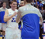 February 28, 2015 - Colorado Springs, Colorado, U.S. -  Air Force guard and CLASS Award candidate, Max Yon #22, is introduced on Senior Day prior to an NCAA basketball game between the Utah State Aggies and the Air Force Academy Falcons at Clune Arena, U.S. Air Force Academy, Colorado Springs, Colorado.   Utah State defeats Air Force 74-60.