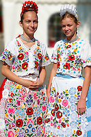 Young women in traditional Kalocsa dress at the paprka festival, Kalocsa, Hungary