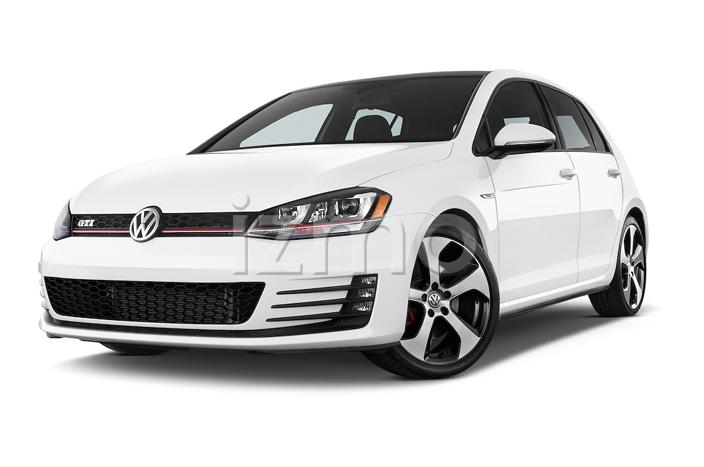 Stock pictures of low aggressive front three quarter view of a 2015 Volkswagen GTI DSG SE PZEV 5 Door Hatchback Low Aggressive