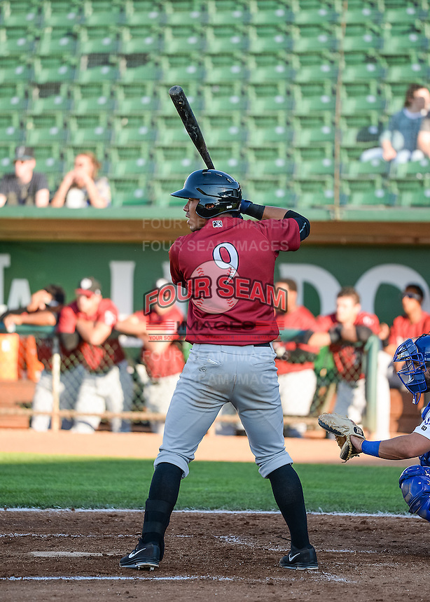 Pedro Gonzalez (9) of the Idaho Falls Chukars at bat against the Ogden Raptors in Pioneer League action at Lindquist Field on June 23, 2015 in Ogden, Utah. Idaho Falls beat the Raptors 9-6. (Stephen Smith/Four Seam Images)