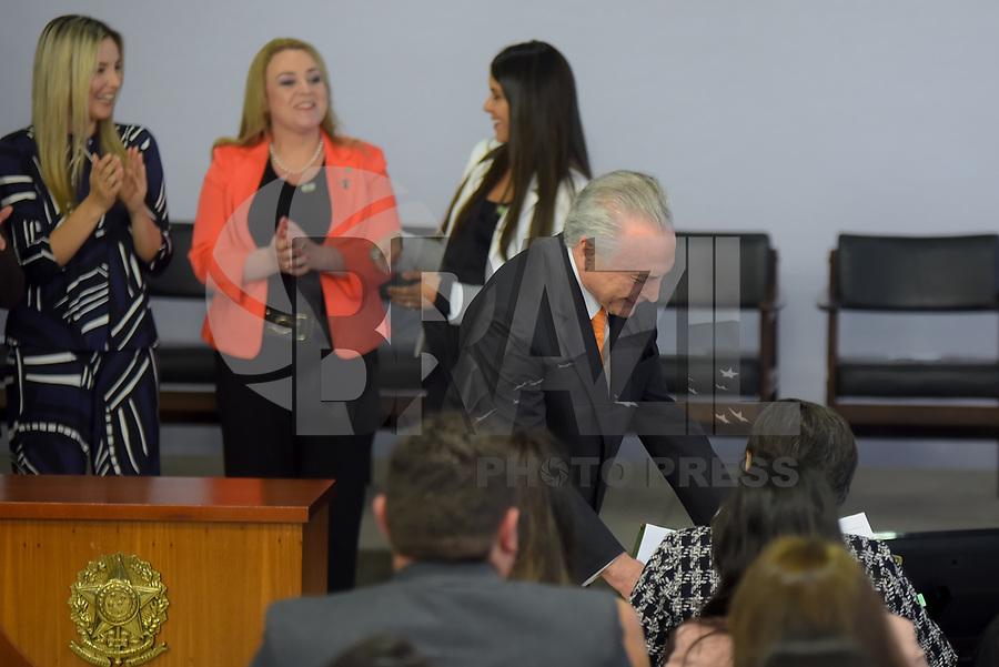 BRASÍLIA, DF, 27.11.2018 – AGENDA-TEMER – O presidente Michel Temer durante Cerimônia de Enfrentamento à Violência Contra a Mulher na tarde desta terça-feira, 27, no Palácio do Planalto.  (Foto: Ricardo Botelho/Brazil Photo Press/Folhapress)