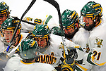 9 January 2009: University of Vermont Catamounts celebrate the third period tying goal during the first game of a weekend series against the Boston College Eagles at Gutterson Fieldhouse in Burlington, Vermont. The Catamounts scored with one second remaining in regulation time to earn a 3-3 tie with the visiting Eagles. Mandatory Photo Credit: Ed Wolfstein Photo