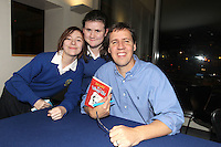 NO FEE PICTURES.29/11/11 Jeff Kinney, author of Wimpy Kids books, with fans Grainne Blair and Erin Carolan, Presentation Secondary School, Warrenmount, Dublin, in Dublin to celebrate the launch of Diary of a Wimpy Kid: Cabin Fever at a one off event held at Liberty Hall Theatre in association with Eason. Pictures:Arthur Carron/Collins