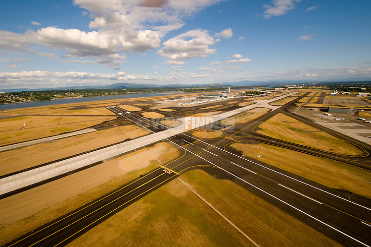 Aerial View of Portland International Airport (PDX) South Runway, Portland, Oregon