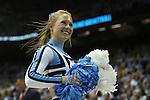 09 November 2012: UNC cheerleader. The University of North Carolina Tar Heels played the Gardner-Webb University Runnin' Bulldogs at Dean E. Smith Center in Chapel Hill, North Carolina in an NCAA Division I Men's college basketball game. UNC won the game 76-59.