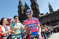 Damiano Cunego passes by the front of the Obradoiro of the Cathedral of Santiago de Compostela before the stage of La Vuelta 2012 between Santiago de Compostela and Ferrol.August 31,2012. (ALTERPHOTOS/Acero)