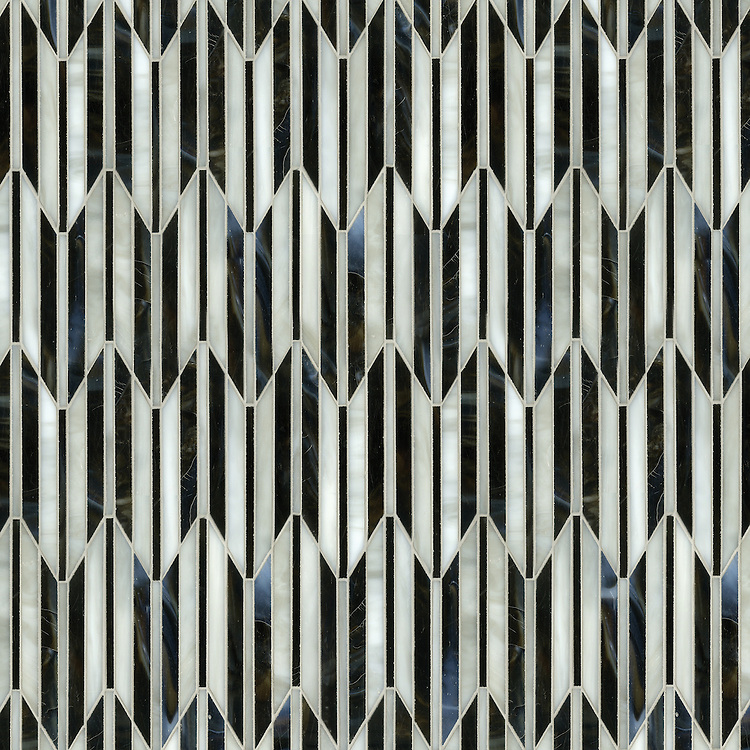 Fletcher, a waterjet mosaic, shown in Jasper and Alabaster jewel glass, is part of the Altimetry® Collection for New Ravenna.