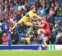 Australia's Jesse Parahi and Wales's Iolo Evans both go to claim a high ball<br /> <br /> Australia Vs Wales - Men's quarter-final<br /> <br /> Photographer Chris Vaughan/CameraSport<br /> <br /> 20th Commonwealth Games - Day 4 - Sunday 27th July 2014 - Rugby Sevens - Ibrox Stadium - Glasgow - UK<br /> <br /> © CameraSport - 43 Linden Ave. Countesthorpe. Leicester. England. LE8 5PG - Tel: +44 (0) 116 277 4147 - admin@camerasport.com - www.camerasport.com
