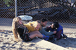 Berkeley CA 4th grade girls in wild play at recess on school play ground (variety of races)