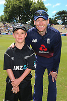ANZ coin toss winner, Nathan Broadhurst, age 10, England captain Eoin Morgan. New Zealand Blackcaps v England. One Day International Cricket. Seddon Park, Hamilton, New Zealand on Sunday 25 February 2018.<br /> <br /> Copyright photo: &copy; Bruce Lim / www.photosport.nz