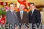Kevin McCarthy, Managing Director, Garveys, Brendan Kennelly, Marketing Manager, Kerry's Eye and Jim Garvey, announcing details of a shopping competition in sponsored by Garveys Supervalu and Kerry's Eye.