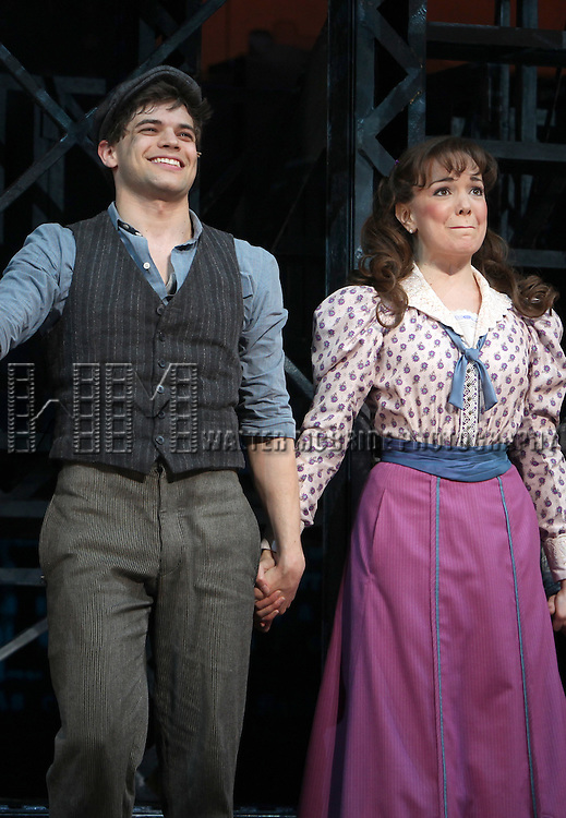 Jeremy Jordan & Kara Lindsay.during the 'NEWSIES' Opening Night Curtain Call at the Nederlander Theatre in New York on 3/29/2012