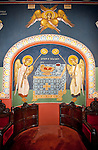 Altar painted with Byzantine-style frescos created by iconographer Miloje Milinkovic within the chapel of Assumption of the Virgin Mary Serbian Orthodox Church, Kragujevac, Serbia