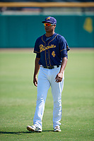 Montgomery Biscuits Jermaine Palacios (4) before a game against the Biloxi Shuckers on May 8, 2018 at Montgomery Riverwalk Stadium in Montgomery, Alabama.  Montgomery defeated Biloxi 10-5.  (Mike Janes/Four Seam Images)