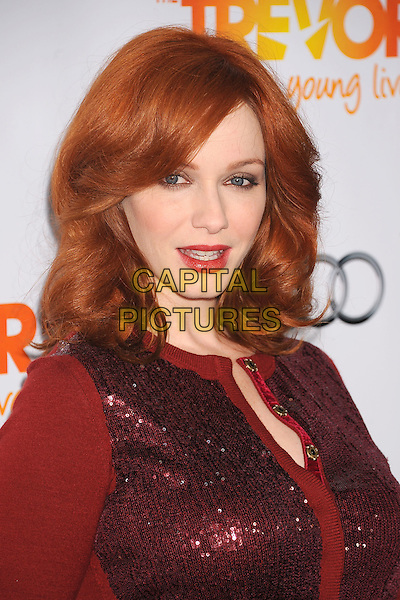 Christina Hendricks.Trevor Live at The Hollywood Palladium in Hollywood, California, USA..December 4th, 2011.headshot portrait red sequins sequined lipstick cardigan.CAP/ROT/TM.©Tony Michaels/Roth Stock/Capital Pictures