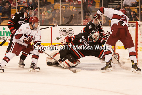 Ryan Shea (NU - 5), Sean Malone (Harvard - 17), Ryan Ruck (NU - 41), Tyler Moy (Harvard - 2) - The Harvard University Crimson defeated the Northeastern University Huskies 4-3 in the opening game of the 2017 Beanpot on Monday, February 6, 2017, at TD Garden in Boston, Massachusetts.