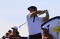Bryson Dechambeau (Team USA) tees off the 13th tee during Saturday's Foursomes Matches at the 2018 Ryder Cup 2018, Le Golf National, Ile-de-France, France. 29/09/2018.<br /> Picture Eoin Clarke / Golffile.ie<br /> <br /> All photo usage must carry mandatory copyright credit (© Golffile | Eoin Clarke)