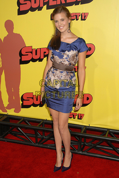 "MAGGIE GRACE.""Superbad"" Los Angeles Premiere at Grauman's Chinese Theatre, Hollywood, California, USA..August 13th, 2007.full length blue cream floral print pattern dress brown sash waist clutch purse shoes .CAP/ADM/BP.©Byron Purvis/AdMedia/Capital Pictures"