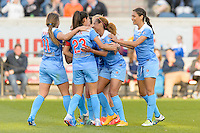 Bridgeview, IL, USA - Saturday, April 23, 2016: Chicago Red Stars defender Casey Short (6) and teammates celebrate a first half goal during a regular season National Women's Soccer League match between the Chicago Red Stars and the Western New York Flash at Toyota Park. Chicago won 1-0.