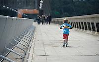 young fan along the course in tricolore jersey<br /> <br /> Belgian National Road Cycling Championships 2016<br /> Les Lacs de l'Eau d'Heure