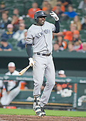 New York Yankees shortstop Didi Gregorius (18) grimaces in pain and jumps in the air after being hit on the hand by a pitch in the ninth inning against the Baltimore Orioles at Oriole Park at Camden Yards in Baltimore, MD on Tuesday, May 30, 2017.  The Yankees won the game 8 - 3.<br /> Credit: Ron Sachs / CNP<br /> (RESTRICTION: NO New York or New Jersey Newspapers or newspapers within a 75 mile radius of New York City)