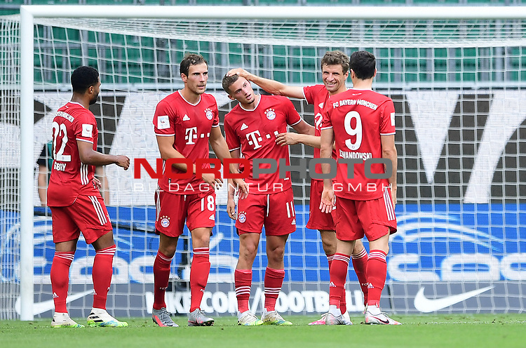 0:2 Tor, Jubel, v.l. Serge Gnabry, Leon Goretzka, Torschuetze Mickael ''Michael'' Cuisance, Thomas Mueller, Robert Lewandowski (Bayern)<br />Wolfsburg, 27.06.2020: nph00001: , Fussball Bundesliga, VfL Wolfsburg - FC Bayern Muenchen<br />Foto: Tim Groothuis/Witters/Pool//via nordphoto<br /> DFL REGULATIONS PROHIBIT ANY USE OF PHOTOGRAPHS AS IMAGE SEQUENCES AND OR QUASI VIDEO<br />EDITORIAL USE ONLY<br />NATIONAL AND INTERNATIONAL NEWS AGENCIES OUT