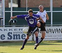SC Oostrozebeke - FC Helkijn.duel tussen Frederiek Defrene (links) en Jonathan Degryse.foto VDB / BART VANDENBROUCKE