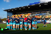 The Worcester Warriors team huddle together  during the pre-match warm-up. Premiership Rugby Cup match, between Saracens and Worcester Warriors on November 11, 2018 at Allianz Park in London, England. Photo by: Patrick Khachfe / JMP