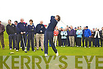 Castleisland lady captain Ma?ire Geaney tees off at the Captains drive on Sunday morning