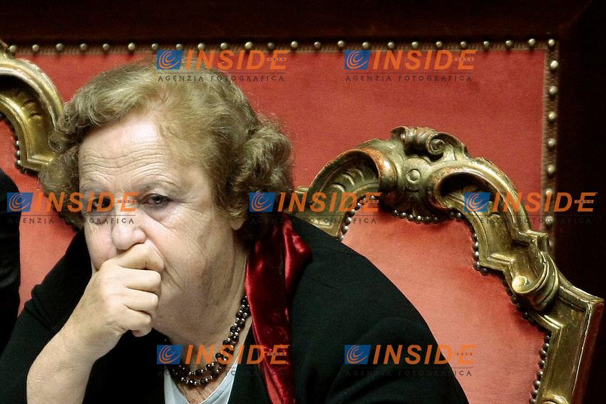 Anna Maria Cancellieri<br /> Roma 05-11-2013 Informativa in Aula al Senato da parte del Ministro della Giustizia sulla sua presunta intercezione nella faccenda Ligresti.<br /> Justice Minister's speech about her intrusion in the Ligresti's matter.<br /> Photo Samantha Zucchi Insidefoto
