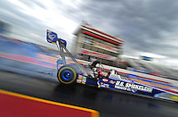 Jan 23, 2009; Chandler, AZ, USA; NHRA top fuel dragster driver Spencer Massey does a burnout during testing at the National Time Trials at Firebird International Raceway. Mandatory Credit: Mark J. Rebilas-