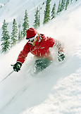 USA, Colorado, Telluride, woman skiing in the powder at Telluride Ski Resort