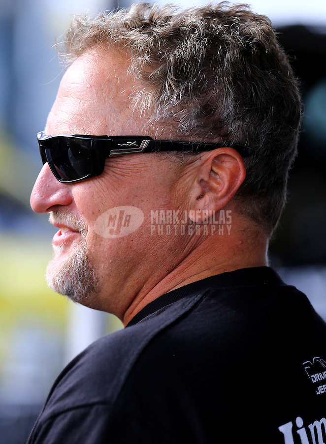 Nov 7, 2013; Pomona, CA, USA; NHRA funny car driver Jeff Arend during qualifying for the Auto Club Finals at Auto Club Raceway at Pomona. Mandatory Credit: Mark J. Rebilas-