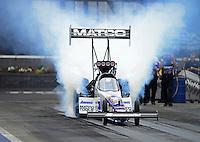 Jun. 16, 2012; Bristol, TN, USA: NHRA top fuel dragster driver Antron Brown during qualifying for the Thunder Valley Nationals at Bristol Dragway. Mandatory Credit: Mark J. Rebilas-