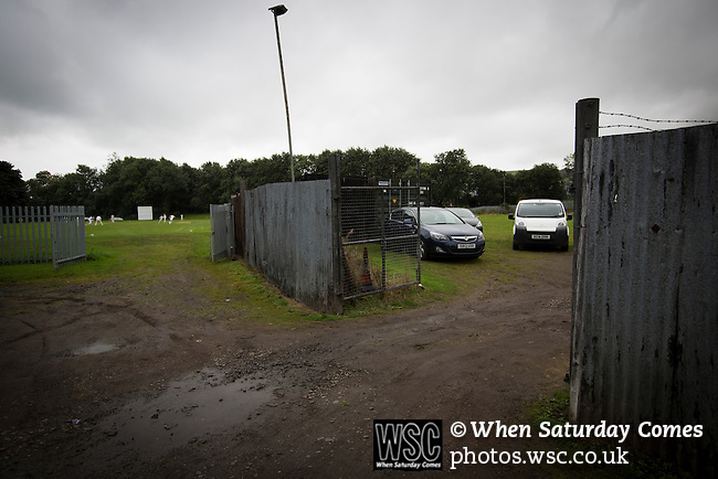 Vale of Leven 3 Ashfield 4, 03/09/2016. Millburn Park, West of Scotland League Central District Second Division. An exterior view of Millburn Park, Alexandria, before Vale of Leven hosted Ashfield in a West of Scotland League Central District Second Division Junior fixture. Vale of Leven were one of the founder members of the Scottish League in 1890 and remained part of the SFA and League structure until 1929 when the original club folded, only to be resurrected as a member of the Scottish Junior Football Association after World War II. They lost the match to Ashfield by 4-3, having led 3-1 with 10 minutes remaining. Photo by Colin McPherson.