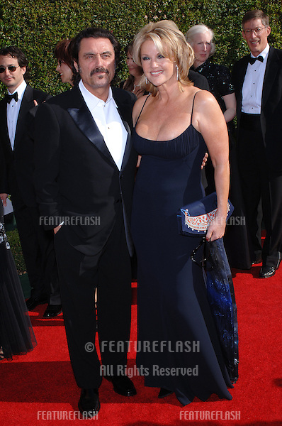 Actor IAN McSHANE & wife actress GWEN HUMBLE at the Creative Arts Emmy Awards in Los Angeles..September 11, 2005; Los Angeles, CA:  .© Paul Smith / Featureflash