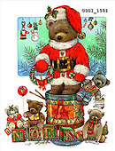 GIORDANO, CHRISTMAS ANIMALS, WEIHNACHTEN TIERE, NAVIDAD ANIMALES, Teddies, paintings+++++,USGI1581,#XA#