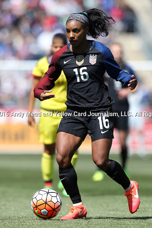 10 April 2016: Crystal Dunn (USA). The United States Women's National Team played the Colombia Women's National Team at Talen Energy Stadium in Chester, Pennsylvania in an women's international friendly soccer game. The U.S. won the match 3-0.