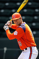 Left fielder Jay Baum (13) of the Clemson Tigers prior to the Reedy River Rivalry game against the South Carolina Gamecocks on March 1, 2014, at Fluor Field at the West End in Greenville, South Carolina. South Carolina won, 10-2.  (Tom Priddy/Four Seam Images)