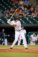 Montgomery Biscuits shortstop Michael Russell (12) at bat during a game against the Mississippi Braves on April 26, 2017 at Montgomery Riverwalk Stadium in Montgomery, Alabama.  Montgomery defeated Mississippi 5-2.  (Mike Janes/Four Seam Images)