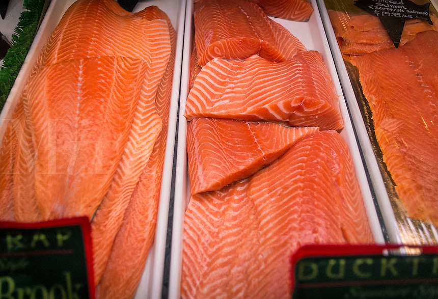 Salmon display at a seafood market.