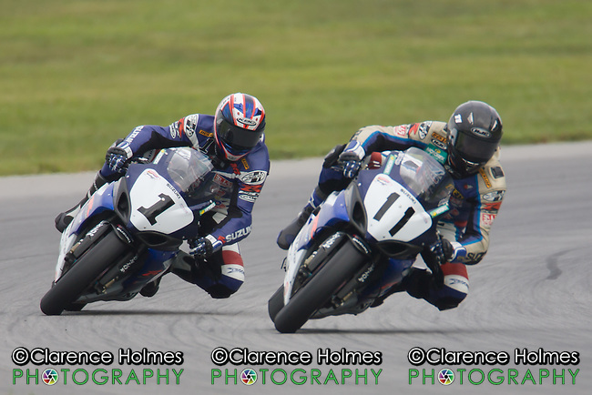 ALTON, VA - AUGUST 27: Ben Spies and Matt Mladin during AMA Pro Superbike Race 1 at the Suzuki Big Kahuna Nationals, held at Virginia International Raceway, Alton, Virginia on August 27, 2005.