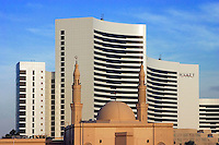 Dubai. United Arab Emirates.  Hyatt Hotel and mosque.