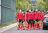 14th May 2020, Suzhou, southeastern Jiangsu Province of East China;  Players of Chinas womens national football team walk on the way to attend an open training session in Suzhou