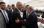 Palestinian Prime Minister Rami Hamdallah attends the opening ceremony of al-Zafer building, which was destroyed during the recent Israeli war on Gaza Strip, in Gaza city on October 3, 2017. Photo by Prime Minister Office