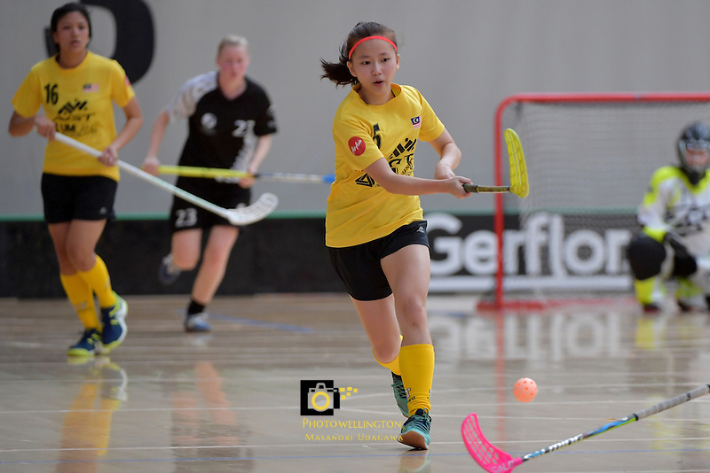 Malaysia's Hui Ni Giam in action during the World Floorball Championships 2017 Qualification for Asia Oceania Region - New Zealand v Malaysia at ASB Sports Centre , Wellington, New Zealand on Saturday 4 February 2017.<br /> Photo by Masanori Udagawa<br /> www.photowellington.photoshelter.com.